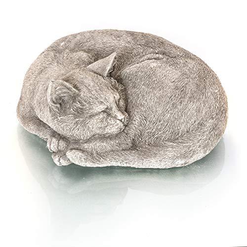 Antikas - Katze traumhaft lebendig wirkende Steinfigur Garten Deko Haustür Tierfiguren