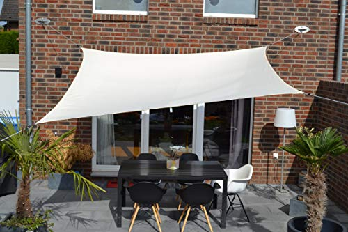 Floracord 06-77-07-38 Vierecksonnensegel mit Regenschutz 2,5 x 3 m inklusive Zubehör mit...