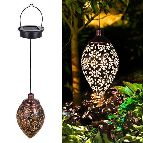 Solarlaterne für außen, Tomshine Garten Laterne, Dekorative Solarlampe Hängend, Metall LED Solar...