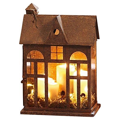 Loberon Laterne Sweet Home, Eisen/Glas, H/B/T ca. 44,5/30 / 17 cm, Rostbraun