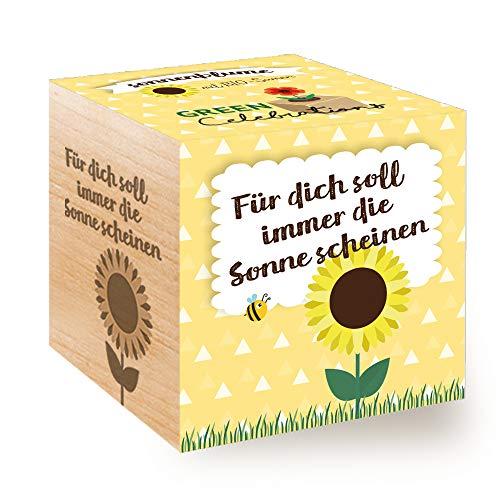 Feel Green Celebrations Ecocube, Sonnenblume Bio Samen, Holzwürfel Mit Lasergravur «Für Dich Soll...