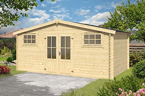 Gartenhaus G129-28 mm Blockbohlenhaus, Grundfläche: 14,02 m², Satteldach