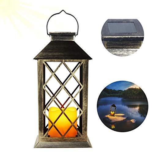 EXLECO Solar Lantern Gartenlaterne Laternen für Draußen mit Kerze und Flammen-Effekt für...