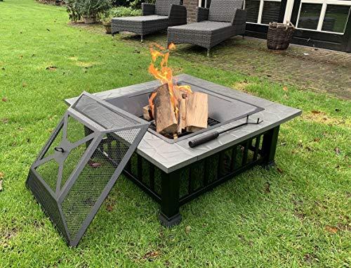 Feuerschale 80 cm XXL groß für den Garten mit funkenschutz und Grill Feuerstelle feuerkorb BBQ...