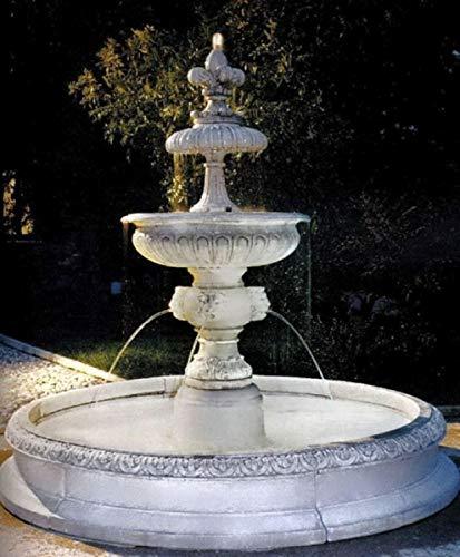 Casa Padrino Barock Springbrunnen Weiß Ø 240 x H. 220 cm - Prunkvoller Barock Brunnen - Gartendeko