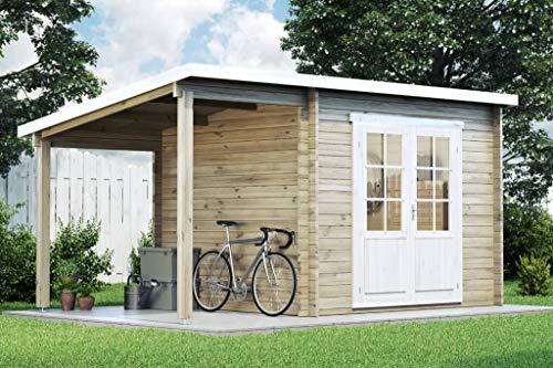 CARLSSON Gartenhaus Maria mit Schleppdach aus Massiv-Holz | Gerätehaus mit 28 mm Wandstärke |...