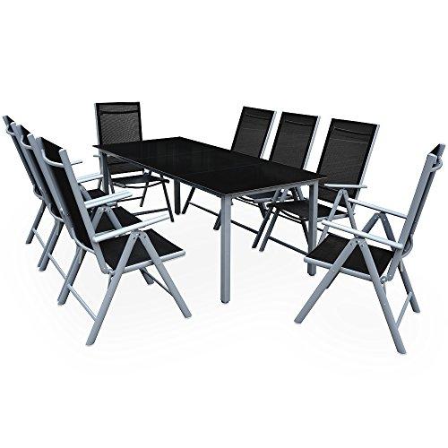 Deuba Sitzgruppe Bern 8+1 Aluminium 7-Fach verstellbare Hochlehner Stühle Tisch mit Sicherheitsglas...