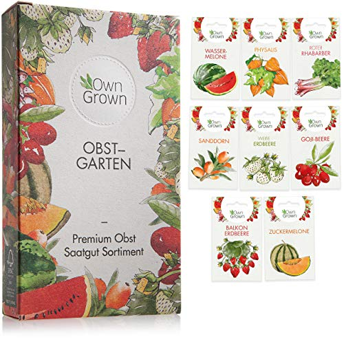 Obst Samen Set: Premium Garten Obst Saatgut mit 8 Sorten Obst Pflanzen für Garten und Balkon –...