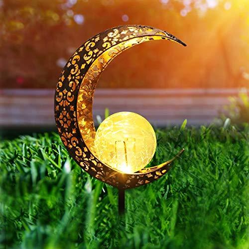 Herefun Solarlampe für Außen, Solar Mond Lampe LED Gartenfahlständer Solarleuchte, Solarleuchten...