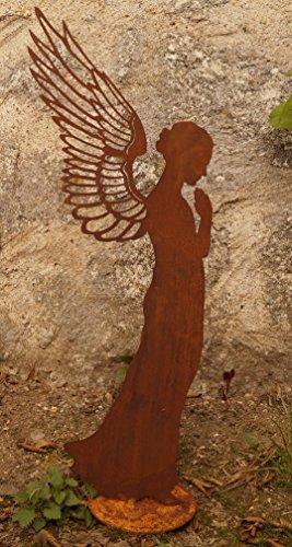 Saremo Edelrost Engel betend filigran 77 cm Gartendekoration Flügel Weihnachten Figur