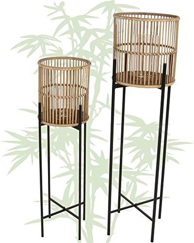 Lesli Living 2er Set Bambus Laterne auf Ständer Annchi Ø49x39,5 cm / Ø60x49 cm Kerzenhalter...
