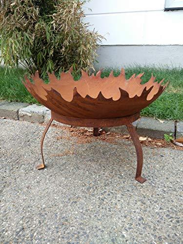 Zen Man Edelrost Garten Feuerschale Garten Schale mit Staender Pflanzenschale Rost Metall Gardendeko...