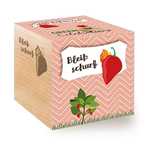 Feel Green Celebrations Ecocube, Chili Habanero, Holzwürfel Mit Lasergravur «Bleib Scharf»,...