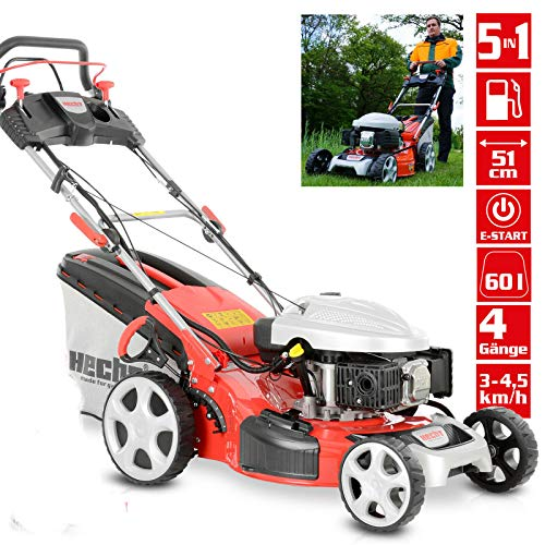 HECHT Benzin-Rasenmäher 5534 SWE Benzin-Mäher + Elektro-Start Funktion (4,4 kW (6,0 PS), 51 cm, 60...