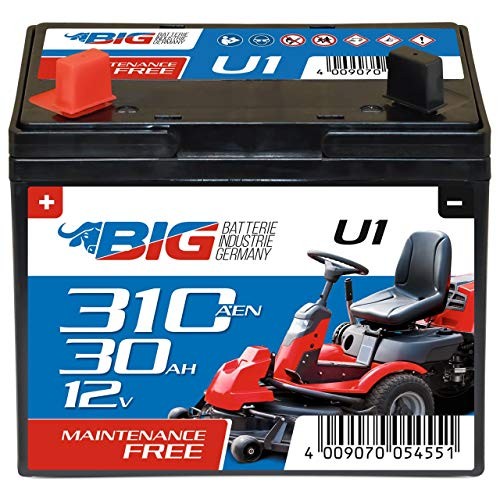 BIG U1 Garden Power Rasentraktor-Batterie 12V 30Ah 310A Starterbatterie für Aufsitzmäher...