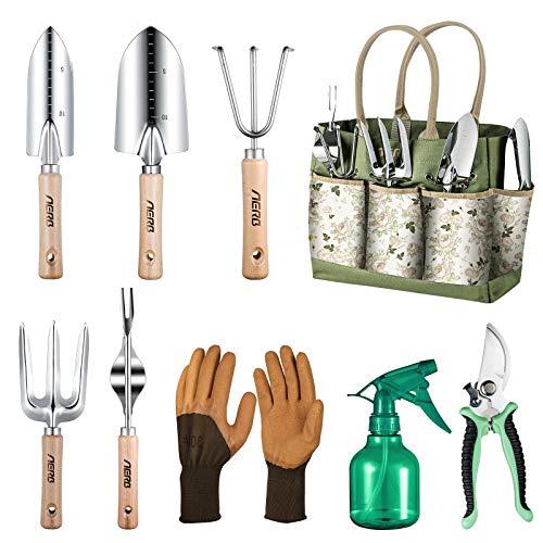 Aerb Gartenwerkzeug Set, 9 Teiliges Hochleistungs Aluminium Gartengeräte, Garten Handwerkzeuge im...