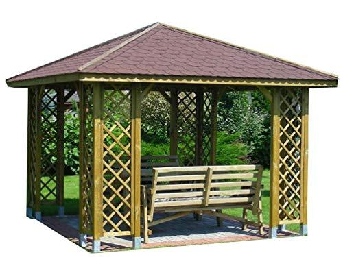 Stan-Wood GARTENLAUBE HOLZPAVILLON PAVILLON MIT HOLZDACH 3m x 3m (Außenmaß 3.45m) Pfostenstärke:...