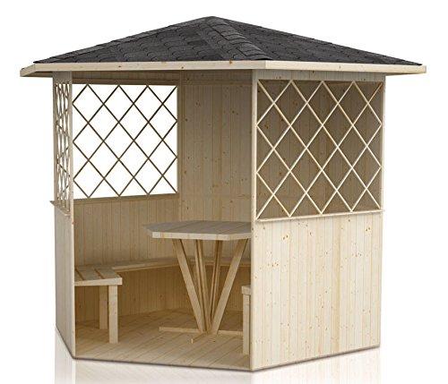 Pavillon Waldesruh inkl. Fußboden - Lieferumfang: inkl. Fußboden, inkl. Bänke, inkl. Tisch