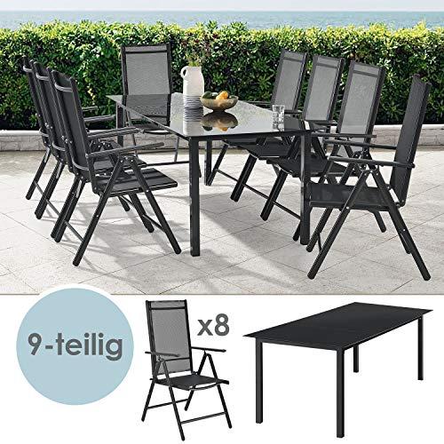 ArtLife Aluminium Gartengarnitur Milano | Gartenmöbel Set mit Tisch und 8 Stühlen | dunkel-grau...