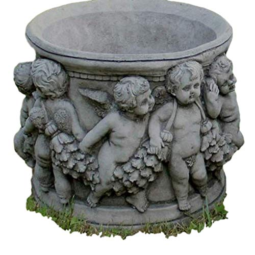 Steinfiguren Horn Pflanztopf mit Engelsmotiven