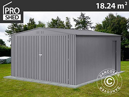 Dancover Metallgarage 3,8x4,8x2,32m ProShed®, Aluminium Grau