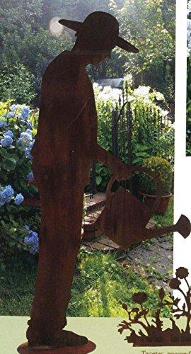 Garten Figur auf Platte - Material: Rost - Gärtner - Höhe 125cm - Hochwertige Gartendeko