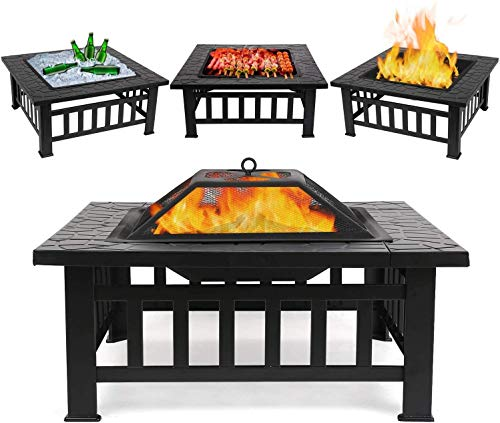 femor Feuerschale mit Funkenschutz, 81x81x45cm, Garten Feuerkorb für Heizung/BBQ, Feuerstelle mit...