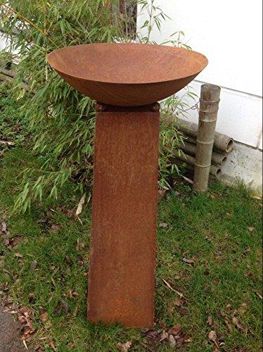 Zen Man Rost,Metal,Gartendeko,Pflanzenschale Feuerschale 50cm Feuerrand mit Konus-Ständer H80cm