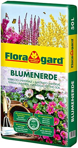 Floragard Blumenerde 50 Liter - Universalerde für Zimmer-, Balkon- und Kübelpflanzen - mit Ton und...