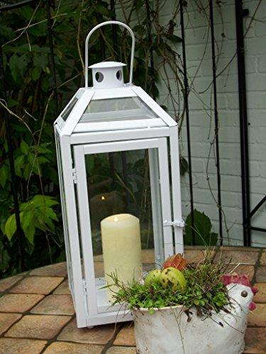 KUHEIGA Weiße schwere stabile Laterne Windlicht, Echtglas