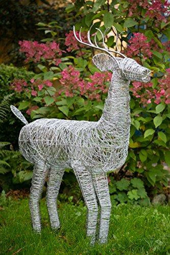 KUHEIGA Dekofigur Hirsch in Silber - Zink H: ca. 120cm Gartenfigur Metallfigur