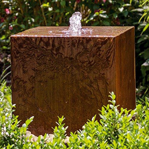 """Köhko® Würfelbrunnen """"Peru"""" Höhe 49 cm Gartenbrunnen 31004 aus Cortenstahl mit..."""