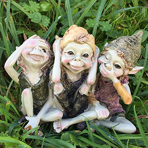 Pixie Hear, See, Speak No Evil - Green Garden Home Decor - Fun Quirky Gift Figurine - Anthony Fisher...