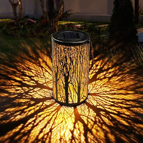Solar Laterne für Draußen GolWof Solar Garten Hängende Laterne Zylinderförmige Nachtlicht...
