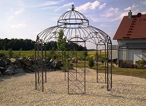 KUHEIGA Stabiler Pavillon Ø 290cm Gartenpavillon aus Metall Verzinkt + pulverbeschichtet - schwarz,...