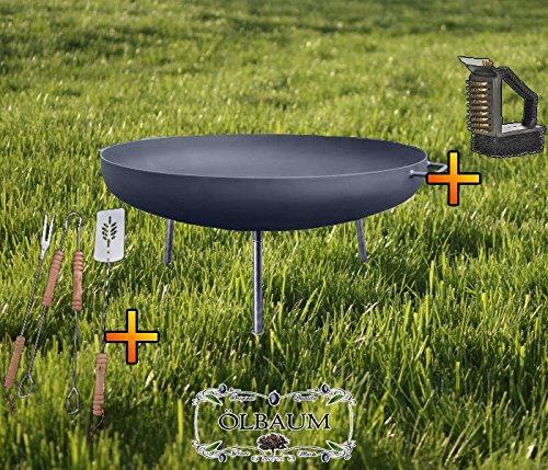 ÖLBAUM XXL Feuerschale ca. 100 cm Feuerkorb aus Stahl + Grillbesteck UND Reiniger Grill Grillen...