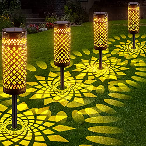 LETMY Garten Solarleuchten für Außen, 4 Stück Metall Solar Gartenleuchte mit Warmweiß und...