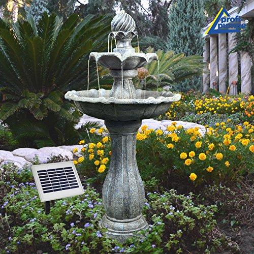 AMUR Solar Gartenbrunnen Brunnen Solarbrunnen Klassik-Garten Zierbrunnen Wasserfall Gartenleuchte...