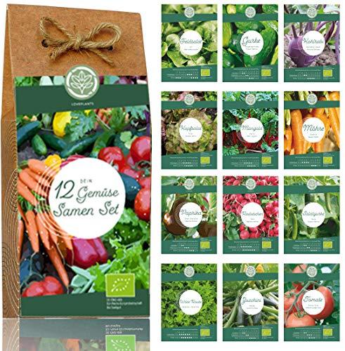 Gemüse Samen Set – 12 Sorten Bio Gemüse Saatgut. Perfektes Gemüseset für Garten und Balkon....