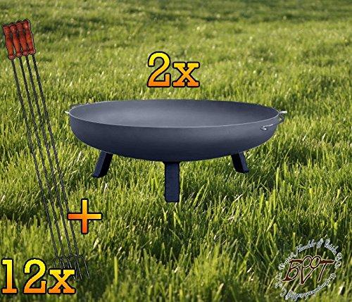 BTV Zwei Starke Feuerschalen mit rechteckigen Füßen, XXXL ca. 100cm + 12 Grillspieße Feuerschale...