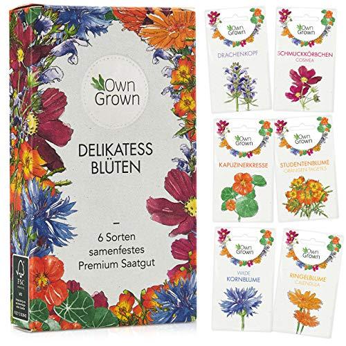 Essbare Blumen Samen Set: Premium Delikatess Blüten Blumensamen Set mit 6 Sorten Blumen Saatgut –...