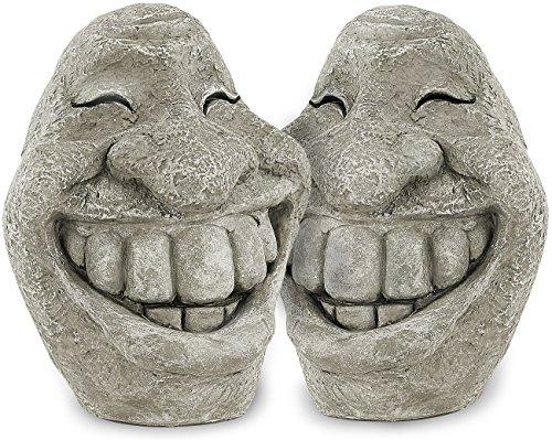 Royal Gardineer Deko Figuren: Steingesicht Smiley im freundlichen 2er-Set, 21 cm hoch (Garten-Figur)