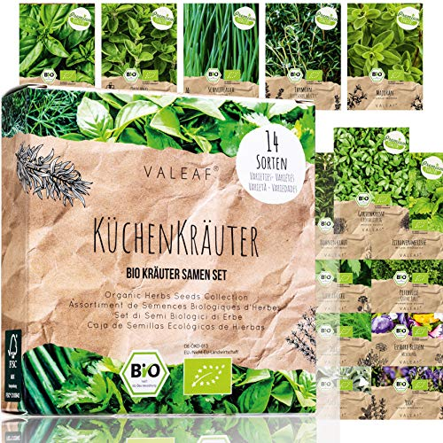 BIO Kräuter Samen Set - 14 Sorten Kräutersamen aus biologischem Anbau, samenfestes Bio Saatgut,...