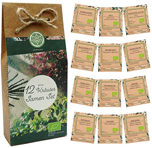 Kräuter Samen Set – 12 Sorten Bio Samen für Bio Küchenkräuter. Perfektes Kräuterset für...