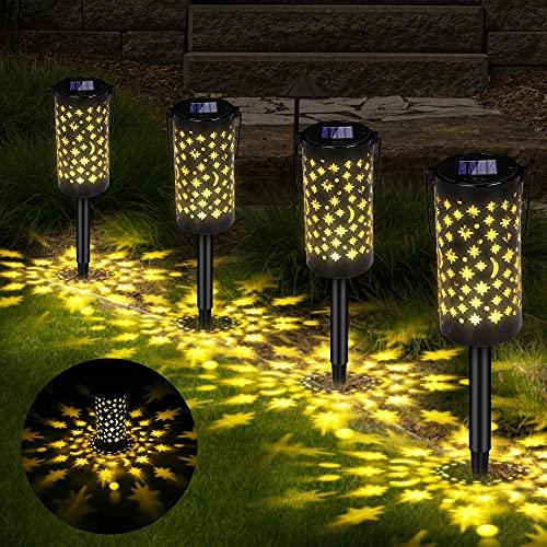 Solarleuchte Garten, Vegena 4 Stück Solar Gartenleuchte für Außen, Solar Lampe mit Erdspieß...