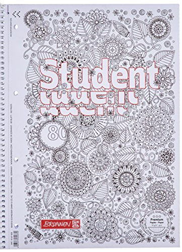 Brunnen 1067427 Notizblock / Collegeblock Student Zenart (A4, kariert Lineatur 28, 90 g/m², 80...