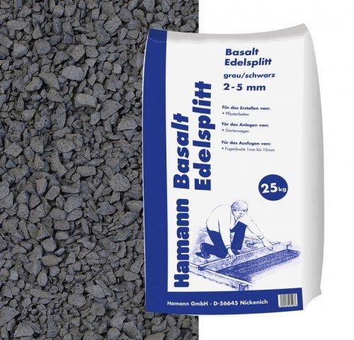 Hamann Mercatus GmbH Basalt Edelsplitt Anthrazit 2-5 mm 25 kg Sack - Zur dekorativen, kreativen und...