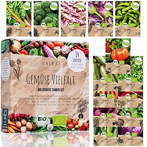 BIO Gemüse Samen Set - 14 Sorten Gemüsesamen aus biologischem Anbau, samenfestes Gemüse Saatgut,...