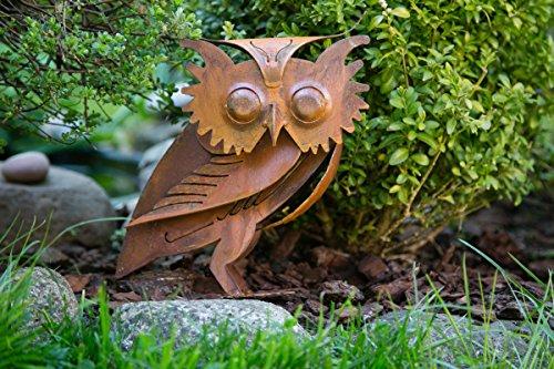 KUHEIGA Gartenfigur Kauz, Rost H: 48cm Rostfigur, Eule, Rostdeko, Edelrost Dekofigur