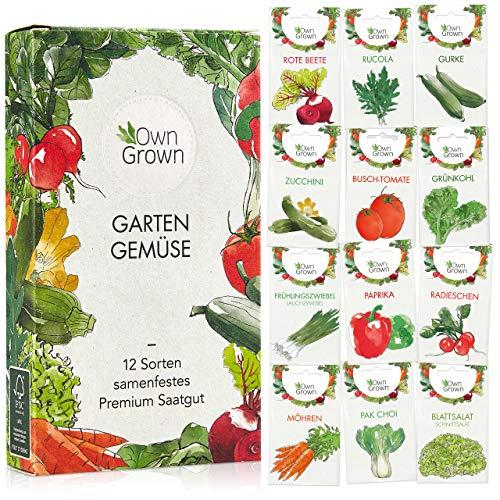 OwnGrown Gemüse Samen Set, 12 Sorten Premium Gemüse Saatgut, Gemüse anbauen im Garten oder...